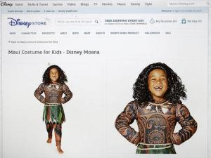 "Screenshot of the costume for the character Maui from the film ""Moana"" on the Disney online store. It was pulled on September 21. Source: Hawaii Public Radio/AP"